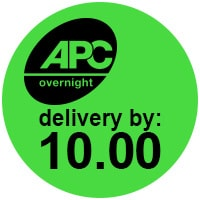 APC overnight delivery before 10 logo